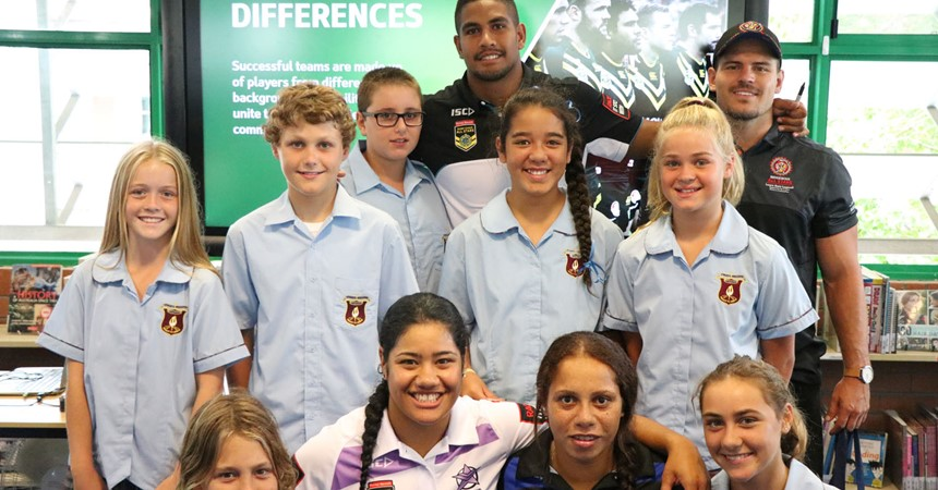 NRL All Stars join St Mary's students for an afternoon of belonging IMAGE