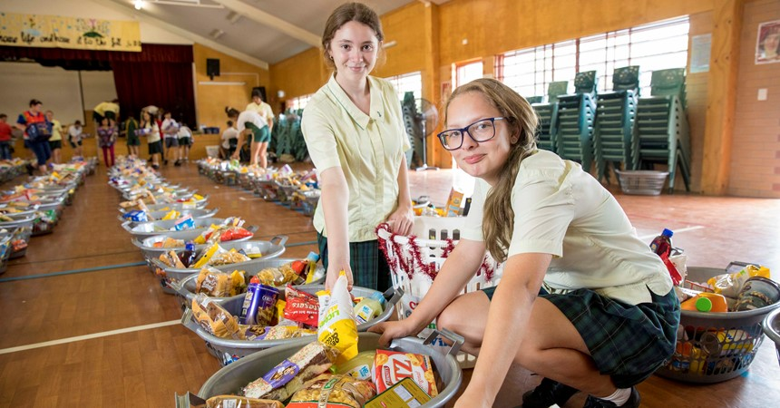 St Clare's Taree spreads the joy of Christmas with hampers IMAGE