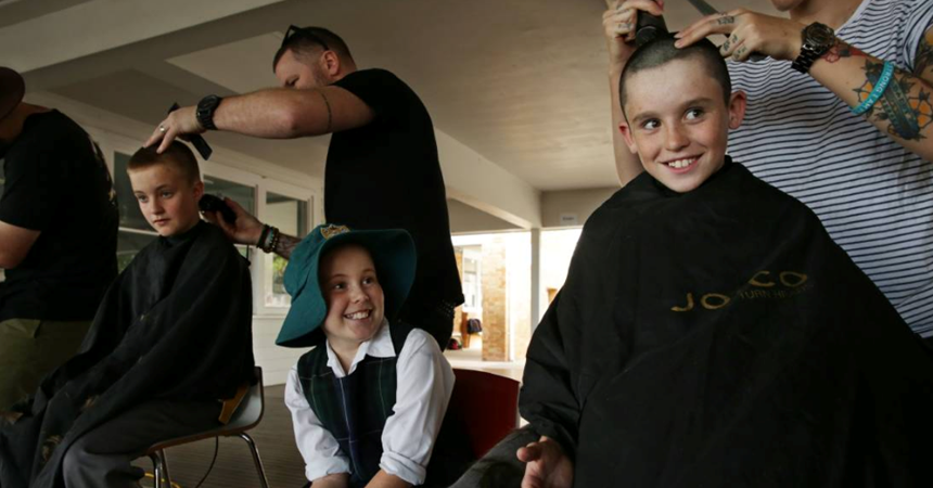 Classmates shave their heads for Lani  IMAGE