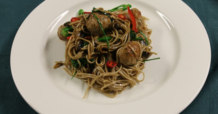 Ginger Pork Meatballs with Soba Noodles IMAGE