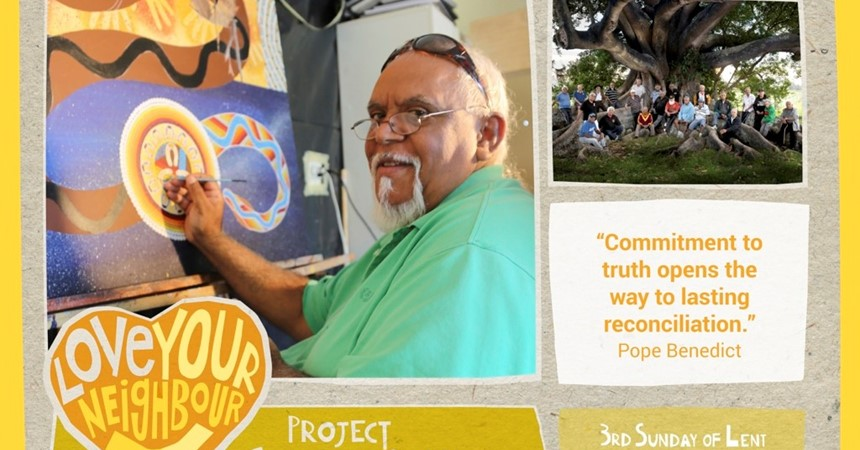 Internationally renowned Aboriginal artist Uncle Richard Campbell for Project Compassion 2017 IMAGE