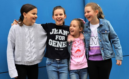 Students at St Therese's don denim to help fund medical research IMAGE