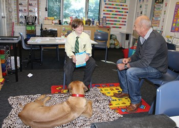 Bill and Ruby introduce a 'paw'fect program at St Brigid's IMAGE