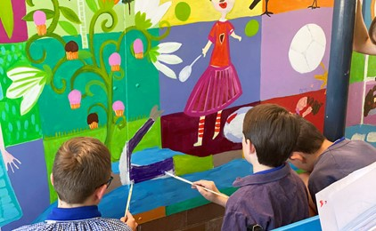 Image:St Mary's colourful school entrance thanks to grant