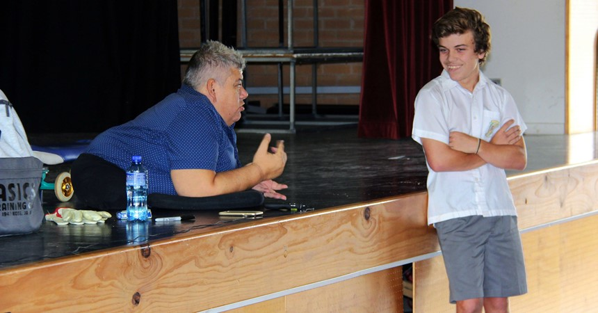 A rolling success - John Coutis delivers life-changing talk to students  IMAGE
