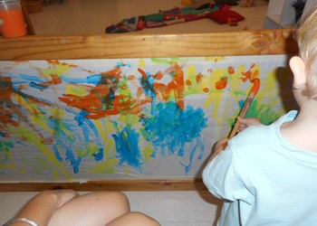 Vertical Surface Drawing in the Toddler Room IMAGE