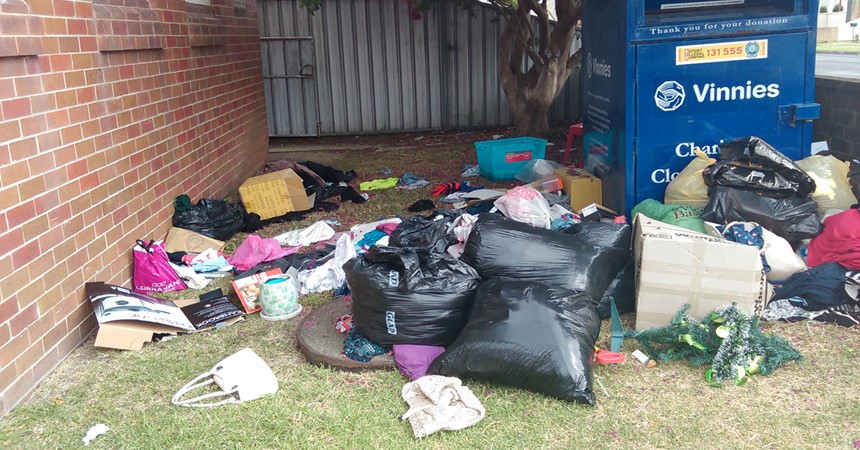 Illegal dumping at Vinnies IMAGE